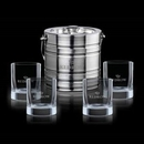 Custom 5 Piece Milano Ice Bucket W/ 4 Rexdale On The Rocks Glasses