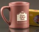 Custom 14 Oz. Carved Ceramic Rose Pink Hearth Fire Mug, 4 1/4