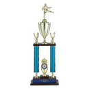 Custom Blue Moonbeam Figure Topped Double Column Trophy w/2