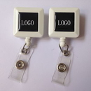 Custom Square Shape Retractable Badge Holder With Clip, 1.26