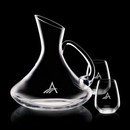 Custom 60 Oz. Bearden Crystalline Carafe W/ 2 Stemless Wine Glasses