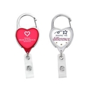 Custom JUMBO Heart Carabiner Badge Reel - LABEL, 1.67