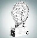 Custom Male Golfer Champion Optical Crystal Molten Glass Award - 7 1/4