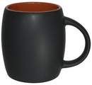 Custom 14 oz. Puget Barrel Mug, Sangria in/Slate Matte out, 4 1/8