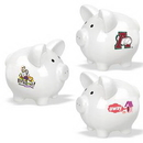 White Ceramic Piggy Bank (Small/Round), Personalised Piggy Banks, Custom Logo Piggy Banks for Kid, 4.5