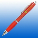Custom Plastic Curve Pen -Red with Silver Trim Plastic Curve Pen -Red with Silver, 5 1/2