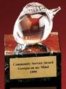 Custom Glass Peach Award w/ Marble Base (3