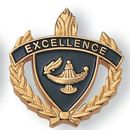 Blank Fully Modeled Epoxy Enameled Scholastic Award Pins (Excellence), 7/8