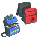 Custom B-8502 Cooler Lunch Bag with Leatherette Bottom Double Zippered Main Compartment 600D Polyester w/Heavy Vinyl Backing