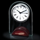Custom CY-1030 Arch Shaped Glass Alarm Clock with Wooden Base, Battery Not Included