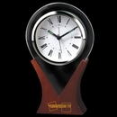 Custom CY-1031 Glass Drop Shaped Alarm Clock with Wooden Base and Roman Numeral Numbering