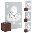 Custom CY-1159 Cards Alarm Clock with Wooden Dice Base