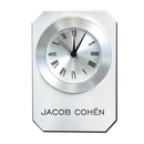 Custom CY-1168 Metal On Glass Alarm Clock with Roman Numeral Numbering and Sleek Brushed Finish, Battery Not Included
