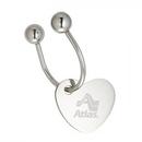 Custom KM-7016 Heart Shaped Hang Tag with Screw Mechanism Horseshoe Key Holder In Shiny Nickel Finish Over Alloy