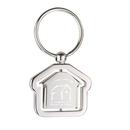 Custom KM-7047 House Shaped Key Tag Swing to Showcase Your Logos In Shiny Nickel Finish Over Alloy