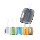 Custom LM-1009 Polished Acrylic Luggage Tag with Plastic Closure with Metallic Stainless Steel Center