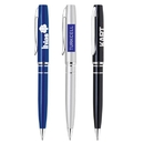 Custom PM-207 Twist Action Aluminum Ballpoint Pen with Enamel Lacquered Body and Polished Chrome Accents