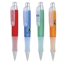 PZ-3040 Click Action Mechanism Ballpoint Pen Frosted Colored Barrel with Frosted White Grip and Clear Clip