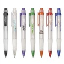 Custom PZ-30450 Click Action Mechanism Ballpoint Pen Frosted White Barrel and Grip with Translucent Clip and Trims