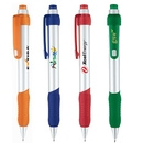 Custom PZ-30451 Click Action Pen Solid Silver Body with Colored Grip and Translucent Trim