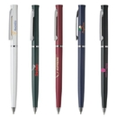 Custom PZ-30805 Ultra Slim, Twist Action Plastic Ballpoint Pen with Solid Opaque