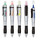 Custom PZ-40210 2-In-1 Twist Action Highlighter and Ballpoint Pen, Metallic Silver Barrel with Texturized Rubber Grip
