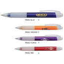 Custom PB452 Polymer, Click Action Plastic Ballpoint Pen with Transparent Body and Frosted White Rubber Grip