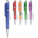 Custom PB500 Polymer, Frosty Retractable Ballpoint Pen with Matte Silver Accents