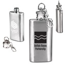 Custom 2 oz. Compact Stainless Steel Flask With Key Chain