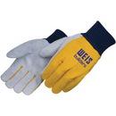 Custom Yellow Clute Pattern Split Leather Work Gloves