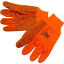 Custom Fluorescent Orange Double Palm Canvas Work Gloves W/ Black Pvc Dots