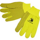 Custom Fluorescent Yellow Double Palm Canvas Work Gloves W/ Black Pvc Dots