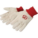 Custom Double Palm Canvas Gloves With Red Wrist