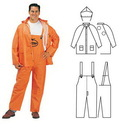 Custom Pvc/Polyester 3-Piece Orange Rainsuit