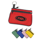 Custom 3017 600D Polyester Two Zipper Key Chain Pouch Plus, 5L x 3-1/2H x 1/4D