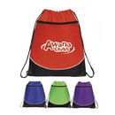 Custom 6211 210D Nylon Pocket Drawstring Backpack, 15 L x 18 H