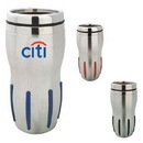 Custom DW1154 Stainless Steel 16 oz. Double Wall Rib-Grip Tumbler, 3-2/5 W x 7-1/5 H