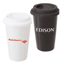 Custom DW1294 Porcelain material 12oz. Double Wall Tumbler w/Silicone Lid, 3-5/8L x 5-1/2H