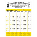 Custom 371 Commercial Planner Wall Calendar - Yellow & Black, Offset Printing