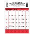 Custom 372 Commercial Planner Wall Calendar - Red & Black, Offset Printing