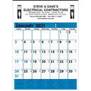 Custom 373 Commercial Planner Wall Calendar - Blue & Black, Offset Printing