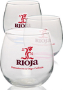Custom 16.75 Libbey Stemless Red Wine Glasses, 3.9