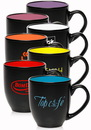 Custom 16oz Two Tone Bistro Mugs, Stoneware, 4.1