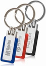 Custom Rubber Border Metal Keychain, Polish Chrome Metal and Rubber, 3