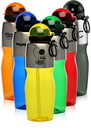 Custom 25oz Flip Action Star Cap Water Bottles with Straw, Polycarbonate / Stainless Steel, 10.25
