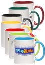 Blank 11 oz. Bright Two-Tone Sublimation Mugs, Stoneware, 4.5