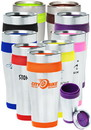 Custom 16oz Stainless Steel Insulated Travel Mugs, Plastic/ Steel, 3.25