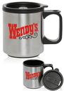 Blank 12 oz Stainless Steel Travel Mugs, Stainless Exterior / Plastic Tumbler