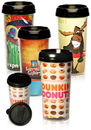 Custom 16oz. Paper Insert Travel Mugs, Plastic, 6.5