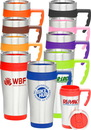 Custom 16 oz. Stainless Steel Travel Mugs with Handles, Stainless Steel, BPA Free Plastic, 3.25